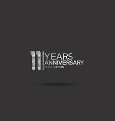 11 years anniversary logotype with silver color vector