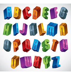 3d font bold and heavy letters vector