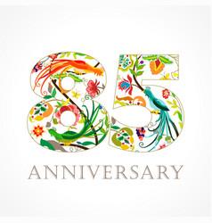 85 anniversary folk logo vector image