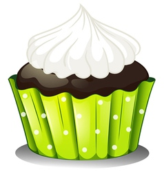 A chocolate cupcake with an icing vector