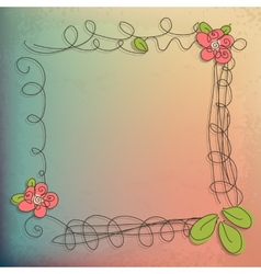 Abstract doodle flower with your text eps 10 vector image