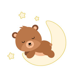 Adorable flat bear sleeping on the moon vector