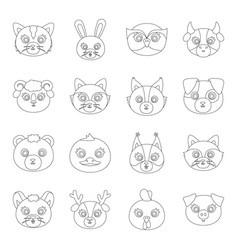 Animal muzzle set icons in line style big vector