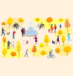 Autumn city park with fountain and walking people vector