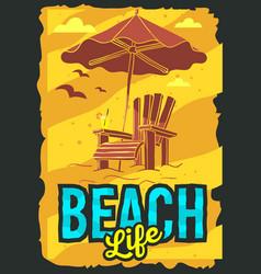 Beach summer poster design with beach lounge deck vector