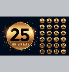 Beautiful golden anniversary labels banner big vector