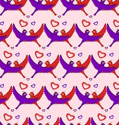Birds hearts pattern vector image