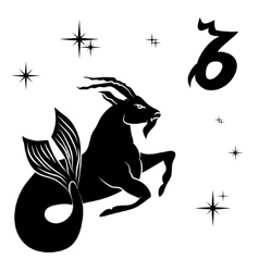 black silhouette of capricorn are on white vector image