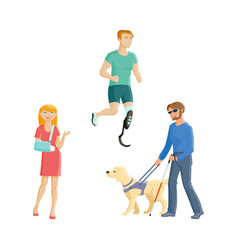 Blind man amputee sportsman broken arm vector
