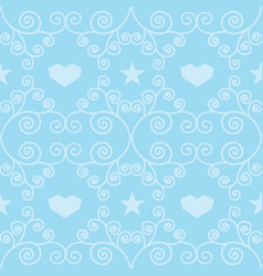 blue winter hearts folk seamless pattern vector image