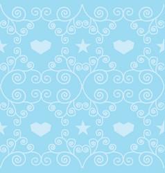 Blue winter hearts folk seamless pattern vector