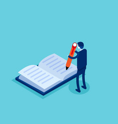 Businessman write in book concept isometric vector