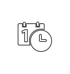 calendar and clock icon date and time symbol vector image