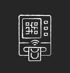 Cardless atm chalk white icon on black background vector