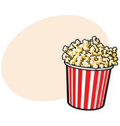 Cinema popcorn in a big red and white striped vector