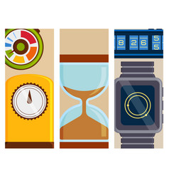 clock and watches flayer timer colorful vector image