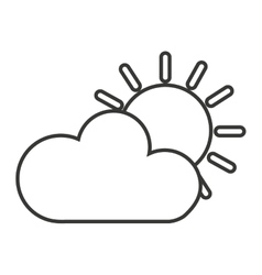 Cloud with sun isolated icon design vector