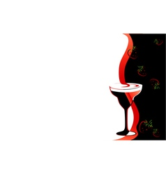 Cocktail glass black and red vector
