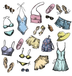 collection of summer clothing and accessories vector image
