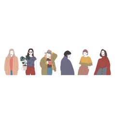 Collection of young women dressed in modern vector