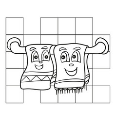 coloring book for children dish towel - coloring vector image