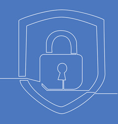 continuous line drawing lock protection concept vector image