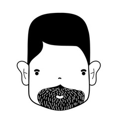 Contour man face with hairstyle and beard vector