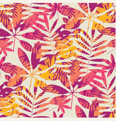 cool vivid bright color tropical leaves pattern vector image