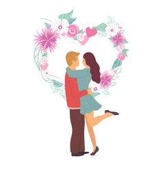 Couple standing together flowers and love vector