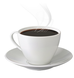 Cup of hot coffee with steam and saucer vector