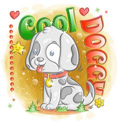 Cute dalmatian dog with feeling happy vector