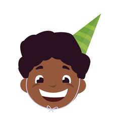 cute happy black boy head with birthday hat vector image