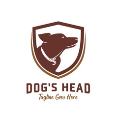 dog head shield logo design template vector image