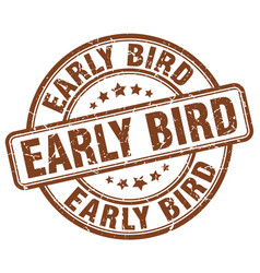 Early bird brown grunge stamp vector
