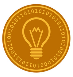 electric bulb digital coin vector image