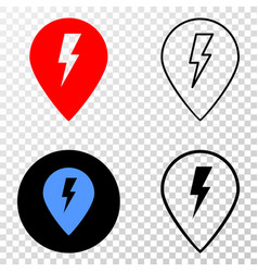 electric map marker eps icon with contour vector image