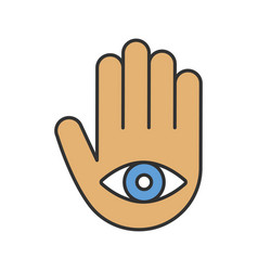 Eye in hand color icon vector