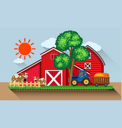 Farmyard with cows and blue tractor vector