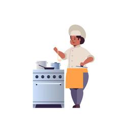 Female professional chef cook preparing vector