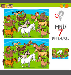 Find differences game with horses animal vector