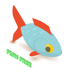 Fish allergen free icon isometric style vector