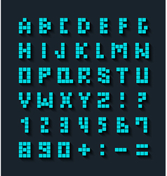 Flat pixel font with shadow effect vector image