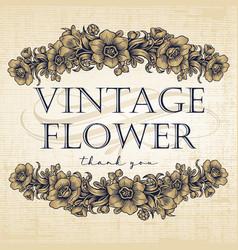 Flower vintage frame drawing logo vector
