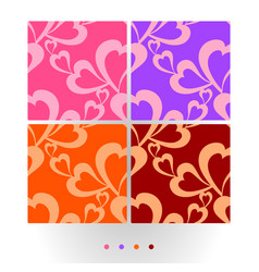 flying hearts on colorful seamless pattern vector image