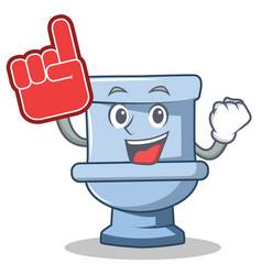 Foam finger toilet character cartoon style vector