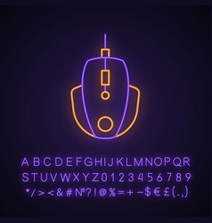 Gaming mouse neon light icon vector
