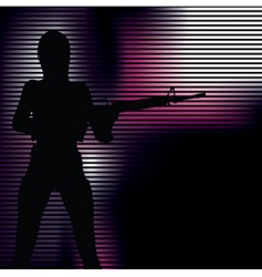 girl with gun silhouette vector image