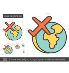 Global traveling line icon vector image