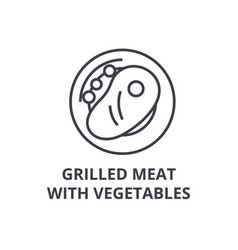grilled meat with vegetables line icon outline vector image