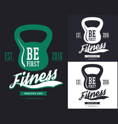gym banner with poise or weight rodt-shirt print vector image